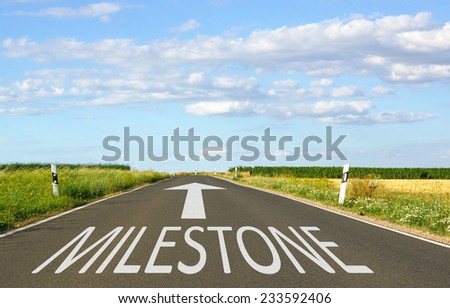 Milestone - Business Concept with Street and Arrow - stock photo