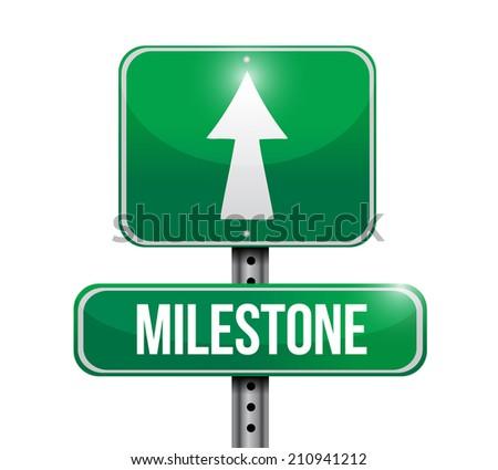 milestone sign post illustration design over a white background - stock photo