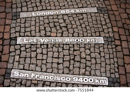 Milestones on the ground - stock photo