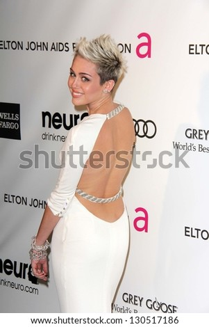 Miley Cyrus at the Elton John Aids Foundation 21st Academy Awards Viewing Party, West Hollywood Park, West Hollywood, CA 02-24-13 - stock photo