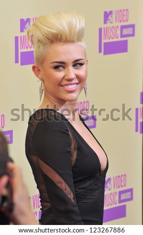 Miley Cyrus at the 2012 MTV Video Music Awards at Staples Center, Los Angeles. September 6, 2012  Los Angeles, CA Picture: Paul Smith - stock photo