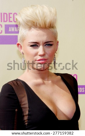 Miley Cyrus at the 2012 MTV Video Music Awards held at the Staples Center in Los Angeles, United States on September 6, 2012.  - stock photo