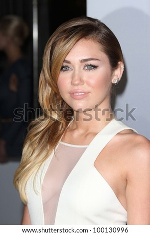 Miley Cyrus at the 2012 People's Choice Awards Arrivals, Nokia Theatre. Los Angeles, CA 01-11-12 - stock photo