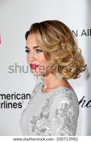 Miley Cyrus at the 20th Annual Elton John AIDS Foundation Academy Awards Viewing Party, West Hollywood Park, West Hollywood, CA 02-26-12 - stock photo