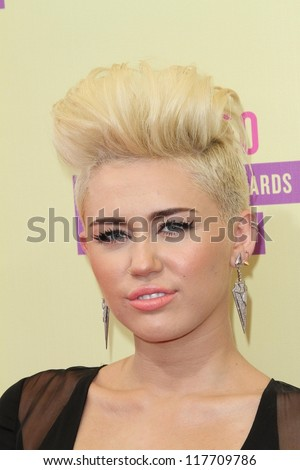 Miley Cyrus at the 2012 Video Music Awards Arrivals, Staples Center, Los Angeles, CA 09-06-12 - stock photo