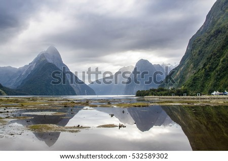 Milford Sound situated on the west coast of the South Island,within Fiordland National Park.