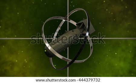 Military Air Force Bomb with Sight Target. 3D Illustration. - stock photo