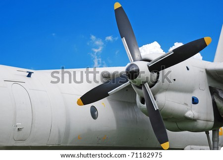 Military aircraft, turboprop engine - stock photo