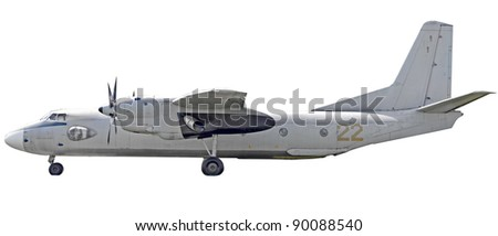 Military airplane isolated on white background - stock photo