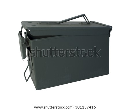Military Ammunition Case in drab olive that secures on one end - path included - stock photo