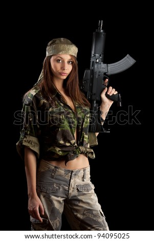 Military Army girl Holding Gun black isolated background