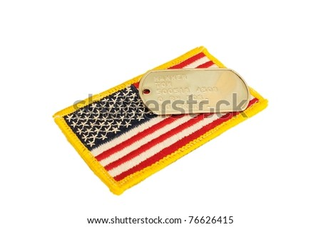 Military army US flag patch and dog tags - stock photo