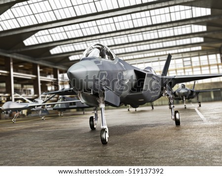 Military aviation arsenal inside a military hangar awaiting deployment. F 35 Fighter jet, stealth fighter and attack drone. 3d rendering