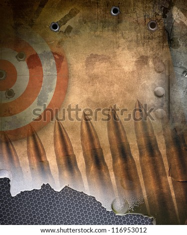 Military background, target with bullets holes - stock photo