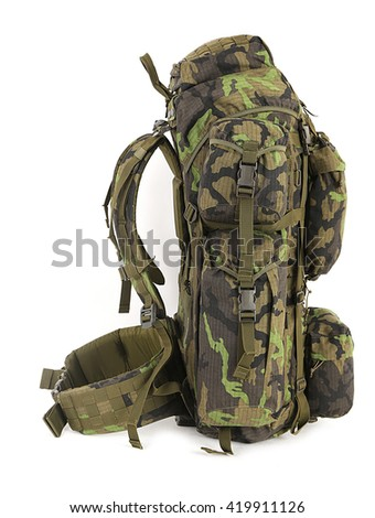 Military backpack isolated on white. Big size. Left view.
