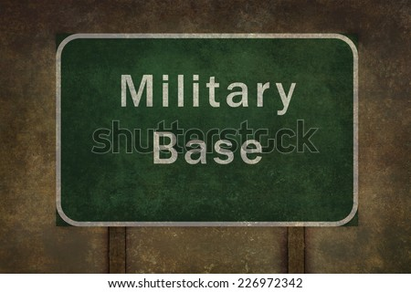 Military base roadside sign illustration, with distressed ominous background - stock photo