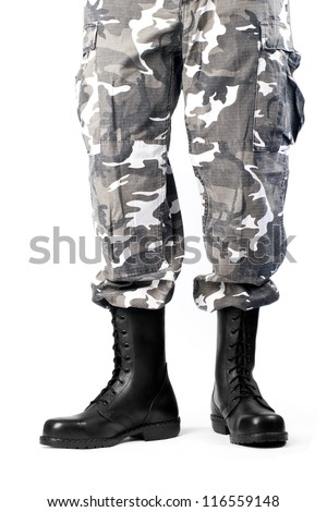 Military Boots Pants On White Background Stock Photo 116559148 ...