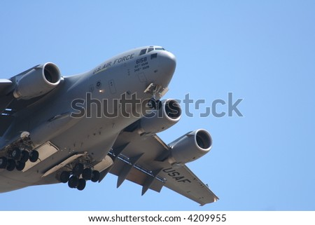 military cargo transport airplane close up
