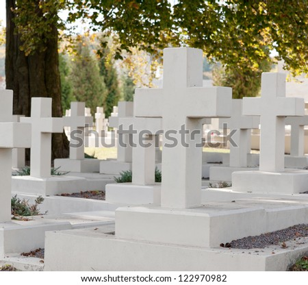 Military cemetery. Since its creation in 1787 Lychakiv Cemetery Lvov, Ukraine - stock photo