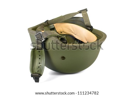 Military combat helmet with chin strap inverted and isolated on white background. Clipping path (without shadow). - stock photo