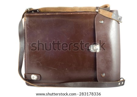 military commander's brown leather bag for documents - stock photo