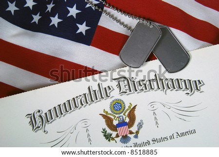 military discharge certificate,dog tags - stock photo