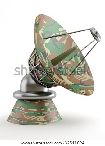 military dish antenna on white background