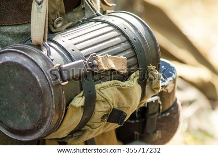 Military dixie tube and put on the war - stock photo