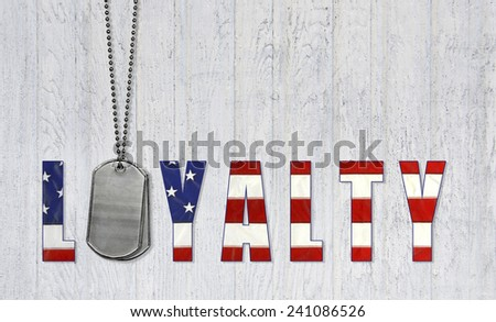 military dog tags for loyalty with American flag design  - stock photo