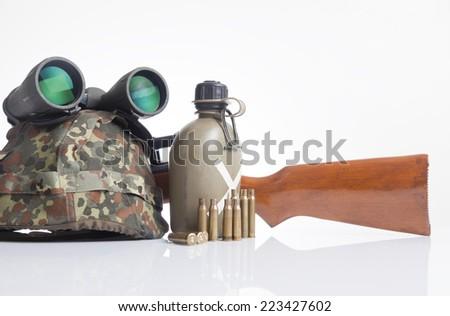 Military equipment set - stock photo