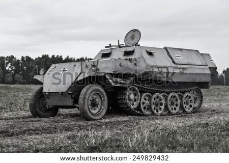Military equipment since World War II. Armored troop. - stock photo