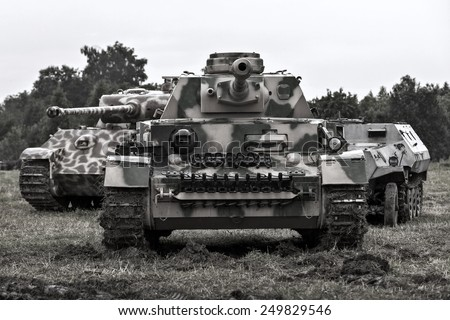 Military equipment since World War II. German tank.
