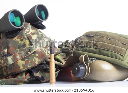 military equipment with helmet, and binoculars