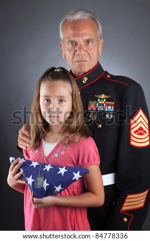 Military Family Mourns Their Loss - stock photo