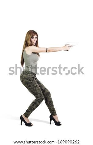 Military fashion girl isolated on white background - stock photo