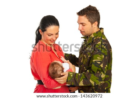 Military father came home to his wife and newborn baby isolated on white background - stock photo