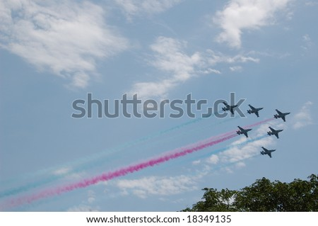 Military Fighters link in blue sky, Baku Azerbaijan - stock photo