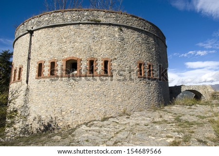 Military fort XIX century a mountain pass in the Alps on the border of France and Italy - stock photo