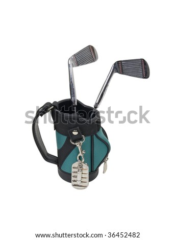Military games shown by dog tags used as an identifier in lieu of cards hanging off of golf bag with clubs - path included
