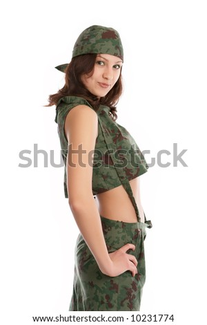 military girl isolated on white