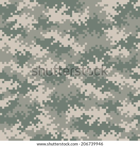 Military gray-green camouflage pixel pattern seamlessly tileable - stock photo
