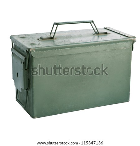 military green metal bullet box isolated on white background - stock photo