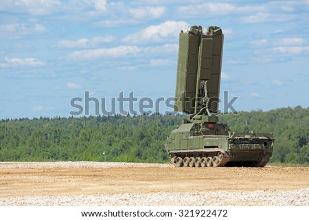 MILITARY GROUND ALABINO, MOSCOW OBLAST, RUSSIA- JUN 18, 2015: Radar from the family of the air defense S-300 (NATO reporting name SA-10 Grumble) at the International military-technical forum ARMY-2015 - stock photo