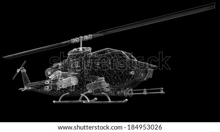 military helicopter 3D model body structure, wire model - stock photo