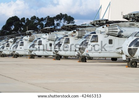 Military helicopter line-up - stock photo