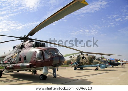 military helicopters - stock photo