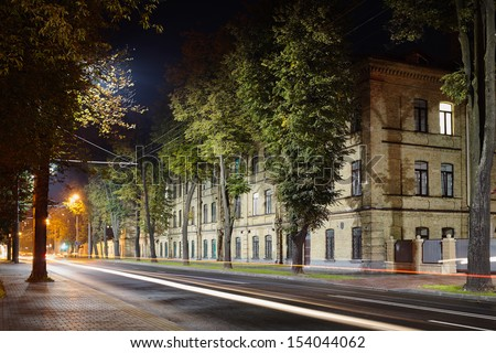 Military Hospital in Grodno Belarus at Night - stock photo