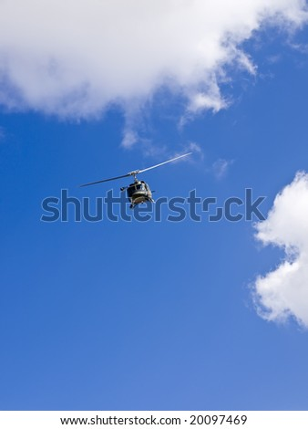 Military Huey UH1-N helicopter rescue - stock photo