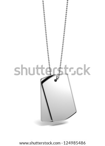 Military id tags isolated on a white background