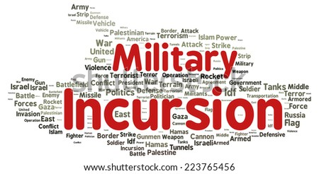 Military incursion word cloud shape concept - stock photo
